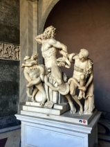Laocoön. This statue group was found in 1506 on the Esquiline Hill in Rome and immediately identified as the Laocoön described by Pliny the Elder as a masterpiece of the sculptors of Rhodes. The story is that during the Trojan War, Laocoön, a priest of Apollo in the city of Troy, warned his fellow Trojans against taking in the wooden horse left by the Greeks outside the city gates. Athena and Poseidon, who were favouring the Greeks, sent two great sea-serpents which have wrapped their coils around Laocoön and his two sons and are killing them. From the Roman point of view, the death of these innocents was crucial to the decision of Aeneas, who heeded Laocoön's warning, to flee Troy, and this led to the eventual founding of Rome. Such an important sculpture could not escape the notice of Pope Julius II (1503-1513) who bought it immediately and had it displayed in the Statues Courtyard (Cortile delle Statue), making it the centrepiece of the collection. There has been much debate over the date of the statue, which would seem to have been made around 40-30 B.C.