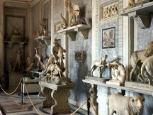 Hall of Animals. The display in the two rooms which together make up the Hall of the Animals was set up under Pope Pius VI (1775-1799) with antique works of art, often much restored and sometimes completely re-worked, with the aim of creating a 'stone zoo'. Many artists worked on the sculptures in this display during the 1700s, the most important of whom was Francesco Antonio Franzoni. For the displays were chosen works of art selected for their links with nature and the chase. In this Hall it is the animals who are the protagonists, and can be seen both in curious interactions between one another, and also in relation to heroes and gods of the ancient world. Coloured marbles were used to allude to the colours of the coat or plumage of various animals or, by contrast, to confer a particular colouristic effect on a work of art.
