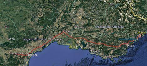 Monaco to Carcassonne Route